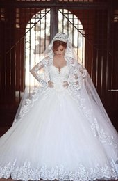 Discount long maternity ball gowns - Cathedral Train Arabic Lace Wedding Dresses 2016 Sheer Long Sleeve Illusion Back Middle East Vestido De Novia Sweetheart