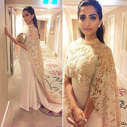 Sonam kapoor red carpet dreSSeS online shopping - 2018 New Sonam Kapoor Dresses Evening Wear With Long Wrap Appliques Elegant Arabic Paolo Sebastian Prom Party Celebrity Gowns Vestidos