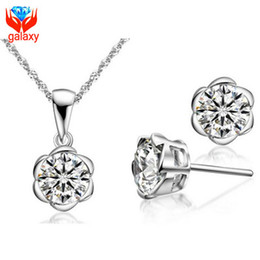 China Gold Set Canada - 18K White Gold Plated Wedding Jewelry Sets Round Cut Swiss Cubic Zirconia Diamond Flower Necklace & Stud Earrings Sets For Women ZS178