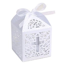 Chinese  50pcs Hollow Cross Style Wedding Candy Box Sweets Gift Favor Boxes With Ribbon Party Decoration Wedding Gifts For Guests Favors manufacturers
