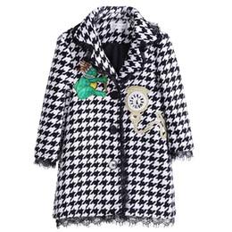 Girls outerwear jackets online shopping - Pettigirl Autumn Houndstooth Girl Coats With Clock Patten Hooded Overcoats Children Fashion Outerwear Girl Jackets G DMOC908