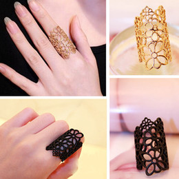 Hollow Fingers Australia - Personality Party Jewelry Accessories Gold Plated Hollow Flower Rings Adjustable Elegant Girls Black Finger Rings for Women