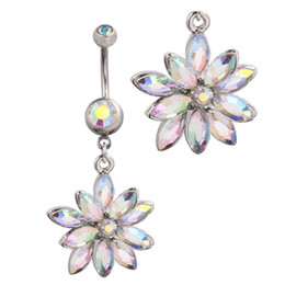 clear belly rings UK - 2015 hot Reverse Belly Rings Dangle Clear Navel Bar Flower Dangle Body Jewelry Piercings Crystals