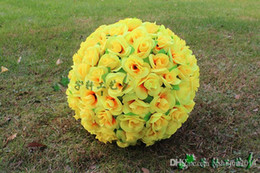 rose bouquets balls UK - 2015 New 16 inch 40cm Artificial Simulation Encryption Silk Rose Flower Kissing Ball for the New Year Festive Wedding Decorations Bouquet