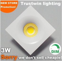 square glass downlight UK - Foyer living sitting recessed micro miniature spot down light small mini Warm Cold White COB square LED downlight 3W dimmable
