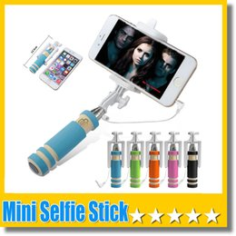 China Super Mini Wired Selfie Stick Handheld Portable Light Foam Monopod Fold Self-portrait Stick Holder with Cable for Sansung S7 Edge iphone 6s suppliers