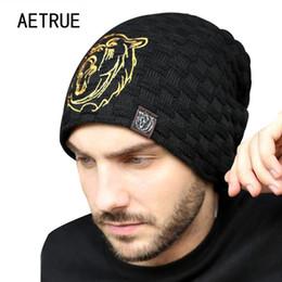 balaclava knitting 2019 - Beanies Knit Hat Men Winter Hats For Men 2017 Brand Bonnet Skullies Winter Men's Hat Fur Warm Caps Skull Mask Balac