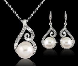 2016 Новые женщины Кристалл жемчуг кулон ожерелье серьги комплект ювелирных изделий 925 серебряная цепь ожерелье ювелирные изделия 12 шт. продажа