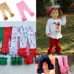 31 Cores de Ação de Graças Halloween Natal Sólida Impresso Ruffle Pants Stripe Leggings Baby Hirls Calças Compridas Calças Quentes em Promoção