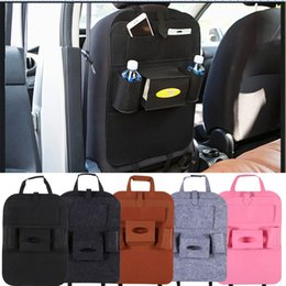 Discount car food holder - 7Colors Auto Car Back Seat Storage Organizer Trash Net Holder Multi-Pocket Travel Storage Bag Hanger for Auto Capacity S