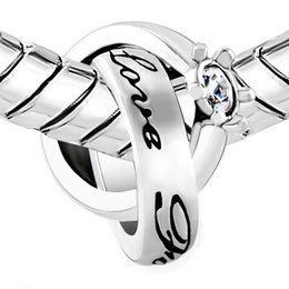 0422b0ec4 Birthstone Charms Clear White Elements Crystal Interlinked Ring Love  Forever Charm European bead Fit Pandora Chamilia Biagi Charm Bracelet