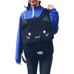 China Cute Cat Canvas Backpack Cartoon Embroidery Backpacks For Teenage Girls School Bag Casual Black Printing Rucksack Mochilas XA69H suppliers