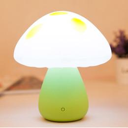 Diy Mushroom Light Canada - Mini Colorful Mushroom Atmosphere lamp LED Childrens Desk Bed Side Touch Night Light Lamp table light novelty light