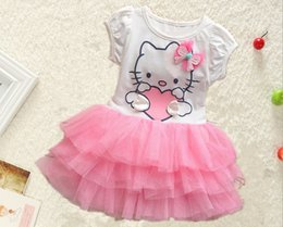 pink baby girls cake dress NZ - Summer Cartoon Baby Dress Cat Korean Girl Tutu Gauze Dresses Shorts Sleeve Cake Layer 3 Colour In Stock 2-6Age Kids DressWD342