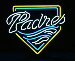 "neon sign game 2019 - Hot Padres Baseball Neon Sign Game Room Sport Pub Handcrafted Custom Real Glass Tube Display Neon Signs 17""X14"""