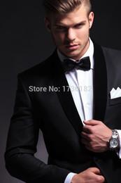 Sale Dress Suits Canada - 2016 hot sale pure black mens dress Groom Tuxedos Best Man Peak Lapel Groomsmen Men Wedding Suits Bridegroom(Jacket+Pants+Bowtie)