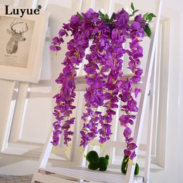 Fake wisteria vines online shopping - New Design Artificial Wisteria Silk Flowers Green Garland Simulation Vine Fake Flowers Home Garden Decoration Wedding Party