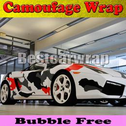 Discount gloss black vinyl film - Red white Black arctic Camo Vinyl Car Wrap Film With Air Rlease Gloss   Matt Snow Camouflage Pixel Car Sticker 1.52x30m