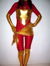 Chinese  Red X-men Phoenix Spandex Superhero Costume Halloween Party Cosplay Zentai Suit manufacturers