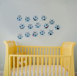 $enCountryForm.capitalKeyWord Canada - 15pcs  Set Football Smile Face Wall Art Mural Sticker Transparent PVC Football Sticker Removable DIY Home Decor