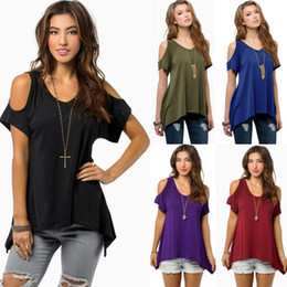 plus size long tail shirts 2018 - Plus Size New Summer Women's Hot V-neck Strapless Short Sleeve Fish Tail Irregular T-shirt Women Fashion Tops disco