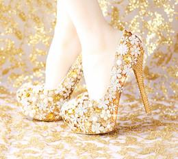 Comfortable Platform Wedding Shoes Canada - 2015 Fashion Comfortable Gold Wedding Shoes Women Shoes Platform High Heels Rhinestone Bridal Shoes Handmade Genuine Leather