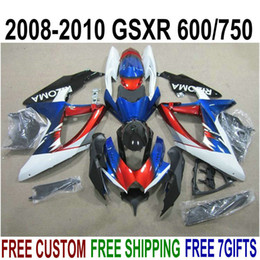 Full Set Fairings NZ - ABS full fairing kit for SUZUKI GSXR750 GSXR600 2008-2010 K8 K9 blue red black fairings set GSXR 600 750 08 09 10 KS54
