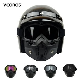 9d4a185748 New VCOROS Modular Mask Detachable Goggles And Mouth Filter Perfect for Open  Face vintage Motorcycle Helmets Coolplay mask