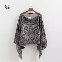 Girls Cape Sweater Canada - Wholesale- Lace Girl 2017 Autumn Winter Slash Neck Women Knitted Sweaters Tassel Loose Pullover Tiger Print Casual Womens Capes Ponchoes