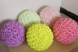 Wholesale roses kiss resale online - 12 Inch artificial flowers rose ball Wedding silk Pomander Kissing Ball flower ball decorate flower for wedding garden market decoration