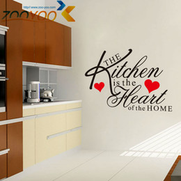 Beautiful U0027u0027The Kitchen Is The Heart Of The Homeu0027u0027 Quote Vinyl Art Wall Stickers  Mural Kitchen Decor Waterproof Tile Wall Stickers