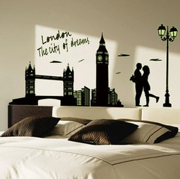 Wall Stickers London Canada - Home Decor High Quality Wall Sticker London Landscape Glow in the Dark 1 piece a lot 60*90cm PVC Free Shipping