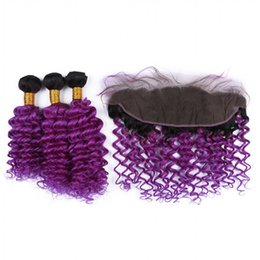 Chinese  Deep Wave Curly Grape Purple Lace Frontal Two Tone 1b Purple Hair With Lace Frontal Closure Deep Wave Malaysian Virgin Human Hair manufacturers