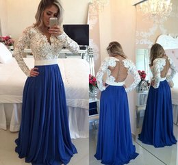 Discount prom gowns full sleeves deep neck - Full Lace Top Prom Dresses 2016 Deep V Neck With Long Sleeves Lace Beaded Beach Spring Party Prom Dresses Party Evening