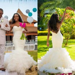 $enCountryForm.capitalKeyWord NZ - African 2018 Sweetheart Backless Satin Mermaid Wedding Dresses With Ruffle Tiered Long Bridal Gowns Custom Made From China EN12095