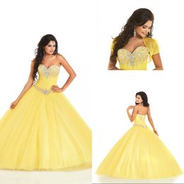 Custom Short Gown Canada - New Design Sweetheart Ball Gown Tulle Beading Yellow Quinceanera Dresses With Short Sleeve Floor Length Sweet 16 Dresses Custom Made