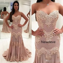 Barato Vestidos De Baile Sweetheart Venda-Hot Sale Backless Prom Dresses 2018 Sweetheart Neck Appliques Lace Vestido formal Sweep Train Mermaid Evening Gowns Custom Made