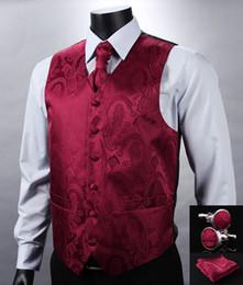 Wedding Waistcoat for men designs online shopping - Fall VE07 Red Paisley Top Design Wedding Men Silk Waistcoat Vest Pocket Square Cufflinks Cravat Set for Suit Tuxedo