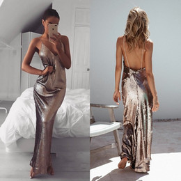Barato Vestidos De Lantejoulas De Mulher-Chic Sexy Low Backless Sequined Evening Dresses 2018 Sheath Spaghetti Straps Sleeveless Women Party Vestidos Prom Dress Cheap