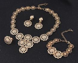 18k Earrings Wholesale Canada - 18k Gold Jewelry Multilayers Hollow Petal Flower Bib Collar Necklaces Earring Ring Bracelet Jewelry sets For Women