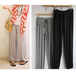 Lycra Sports NZ - 2015 Summer Style Casual Elastic Waist Women Pants Solid Color Drawstring Full Length Plus Size Lycra Harem Pants for Sport