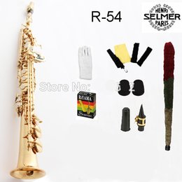 online shopping 2018 New French Salma Saxophone Straight R54 Soprano B flat One Saxophone Tube Bb Gold plated packing