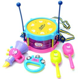 children drum set 2018 - New Roll Drum Musical Instruments Band 1 set=5pcs Baby Musical Toys Kit Kids Children Toy Gift Set Free Shipping