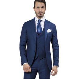 Dark Blue Suits Australia - Men's suit made dark blue suit, men's silver suit dress wedding dress suits, men's and women's wedding dress best man suit (jacket and trou