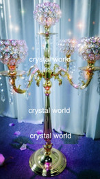 $enCountryForm.capitalKeyWord NZ - wholesale hot elegant new fashion tall crystal candelabra with flower bowl centerpiece for wedding decoration on sale