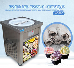 US WH Доставка ETL Одноместный 22 дюйма кастрюля мороженое кремовое кремовое машина жареное мороженое машина Fry мороженое машина на Распродаже