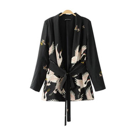 Chinese  Wholesale- PEONFLY2017Fashion Women Red Crowned Crane printing Kimono style jacket Casual Long sleeve Coat Vintage Knotted belt Loose Tops manufacturers