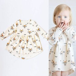 Casual lolita fashion online shopping - Ins Girls Fox Glasses Dresses Bow Tie Printed Long Sleeve Knee Length A Line Cotton Infant Toddler Baby Casual Fashion Princess Cloth M T