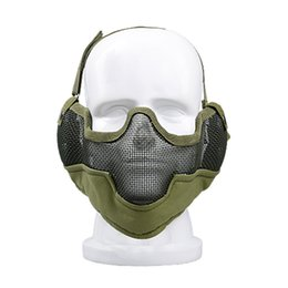 metal mesh half face mask 2019 - Half Face Metal Steel Wire Mesh Paintball Tactical Mask with Ear Protection Combat for Airsoft Paintball discount metal