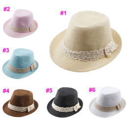 crochet baby cowboy hats 2018 - 6 colors Kids Straw lace Hat Baby Summer Straw Cowboy Hat Boys Girls Straw Fedoras Baby Strawhat 10pcs